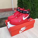 Жіночі зимові кросівки Nike Air Force 1 Mid LV8 (червоні) 3655, фото 4