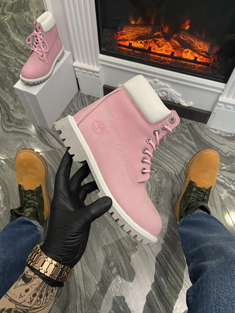 """Женские ботинки Timberland """"Pink/White"""" (в стиле Тимберленд)"""