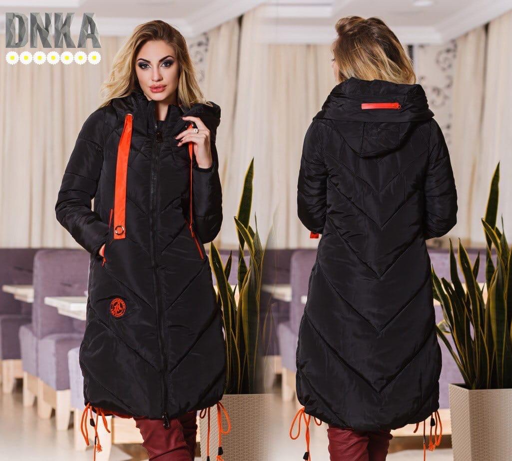Стильное  женское пальто с капюшоном и на молнии,с карманами.цвет черный