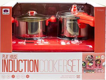 Набір посуд: плитка,каструля,сковорідка,звук.,світ.,продукти,у кор-ці №555-BX045-X047(6)