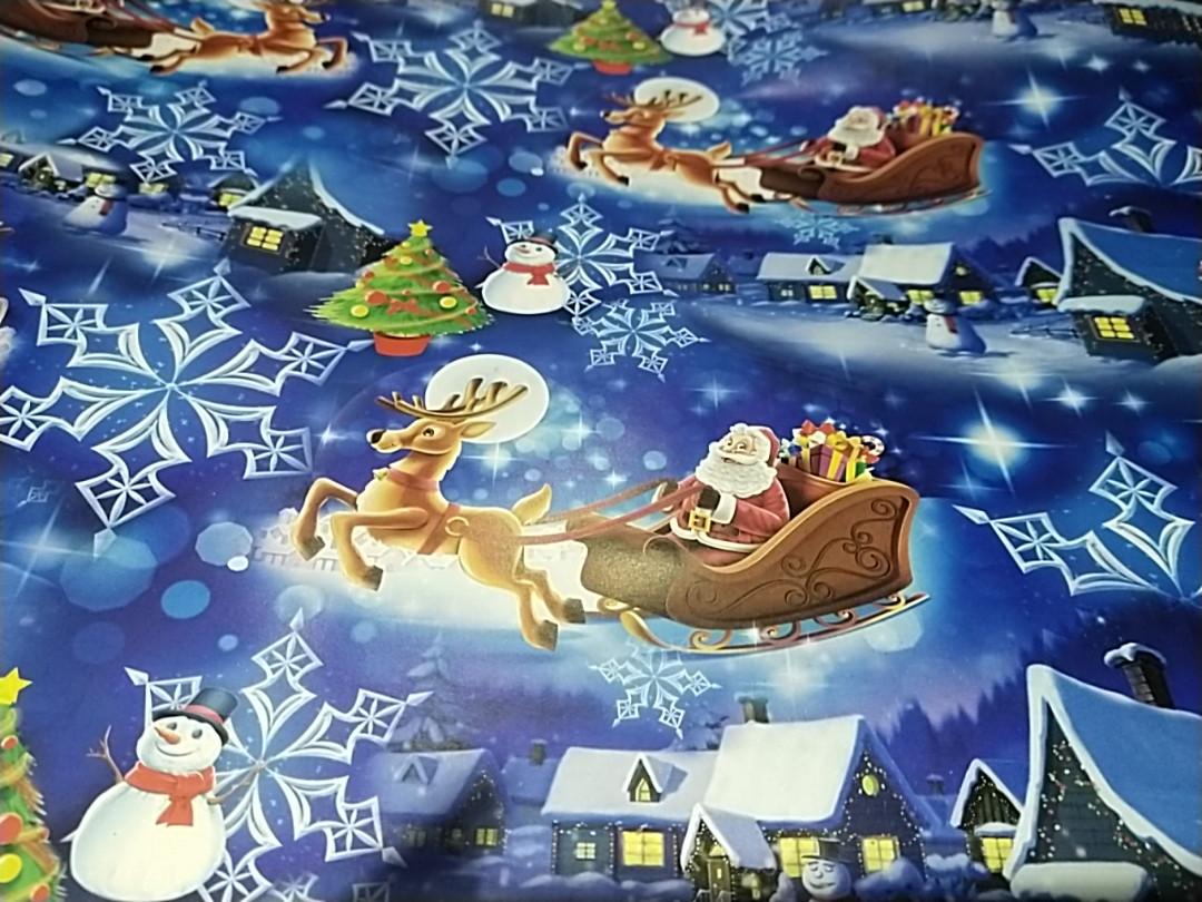 Бумага упаковочная с новогодним рисунком дед Мороз  на санях снеговик елка