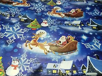 Бумага упаковочная размер 1 метр на 70 см с новогодним рисунком дед Мороз на санях снеговик елка 1 шт