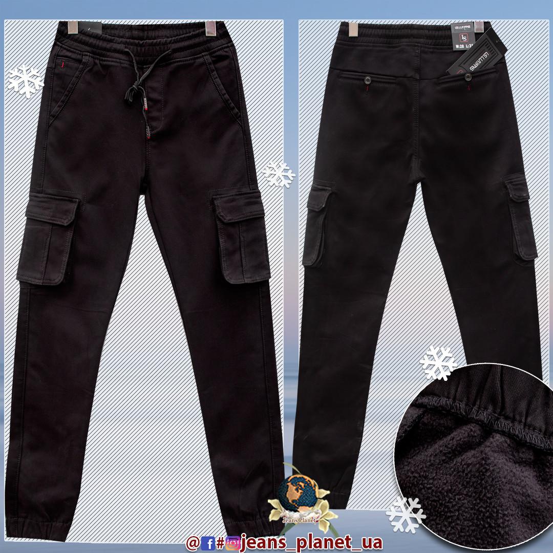 Джинсы мужские утеплённые карго джоггеры чёрного цвета