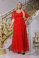 Ажурное женское платье в пол больших размеров, фото 1