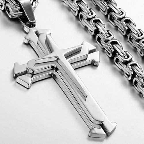 Мужская цепочка Steel Rage Silver с крестиком