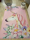"""Бесплатная доставка! Ковер в детскую  """"Единорог в цветах на розовом фоне""""(2*3м), фото 2"""