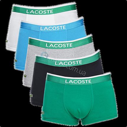 Трусы мужские Lacoste набор 5 штук хлопок в подарочной коробке, фото 2