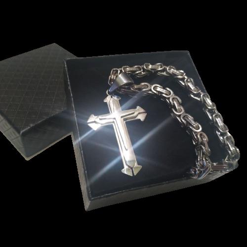 Подарочный набор: мужская цепочка Silver Steel Rage 5мм + крестик
