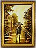 Картина из янтаря Пейзаж Пара под зонтом П-708 30*40