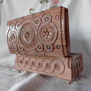 Шкатулка деревянная резная 21х11х11 см. для украшений, ручная работа