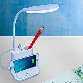 Настільна акумуляторна Led лампа з функцією Power Bank Біла