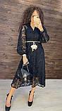 Женское вечернее нарядное платье миди ажурное с пышной юбкой на пуговках, черное айвори голубое, фото 6