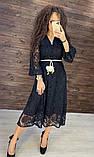 Женское вечернее нарядное платье миди ажурное с пышной юбкой на пуговках, черное айвори голубое, фото 7
