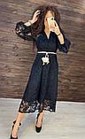 Женское вечернее нарядное платье миди ажурное с пышной юбкой на пуговках, черное айвори голубое, фото 8