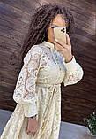 Женское вечернее нарядное платье миди ажурное с пышной юбкой на пуговках, черное айвори голубое, фото 3