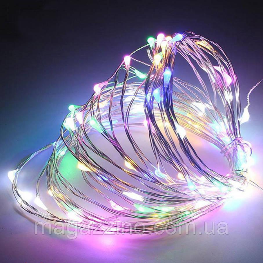 Гирлянда нить светодиодная Капли Росы 200 LED, Мультицветная, проволока, от сети с адаптером, 20м.