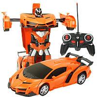 Машинка детская на радиоуправлении Трансформер Lamborghini Robot Car Size 18 Оранжевая