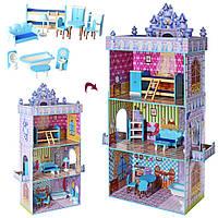 Деревянная игрушка домик для кукол Bambi MD 2410 три этажа, мебель
