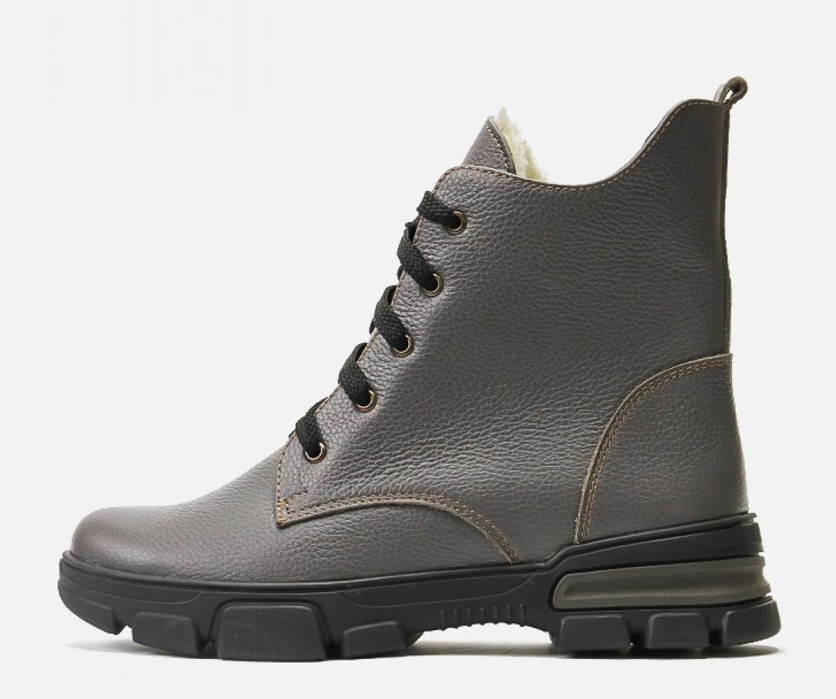 Зимние ботинки Villomi кожаные женские серые