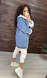Женская джинсовая парка куртка на меху, фото 2