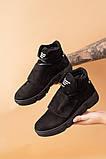 Подростковые ботинки кожаные зимние черные-нубук, фото 4