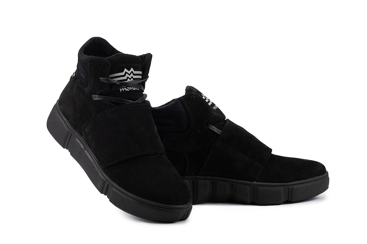 Подростковые ботинки кожаные зимние черные-нубук