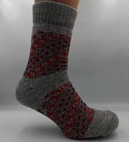 Носки шерстяные женские Лана Орнамент серо-красный