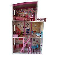 Деревянный Игрушечный домик для кукол MD 2411 мебель 3 этажа