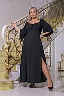 Женское длинное трикотажное платье батал с разрезом, фото 1