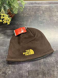 Зимняя двухсторонняя шапка The North Face коричневый