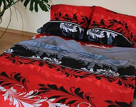 Євро комплект постільної білизни з рослинами (червоне) - вітражі червоні
