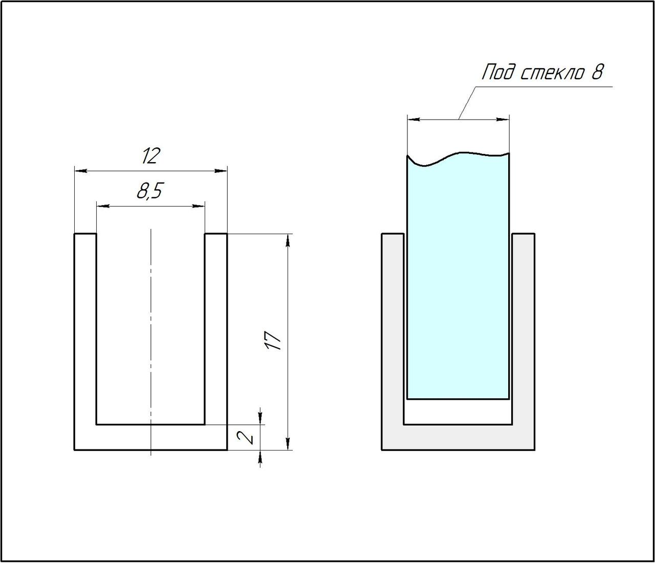 ODF-04-24-03-L3000  Профиль из алюминия  под стекло 8 мм, анодированый