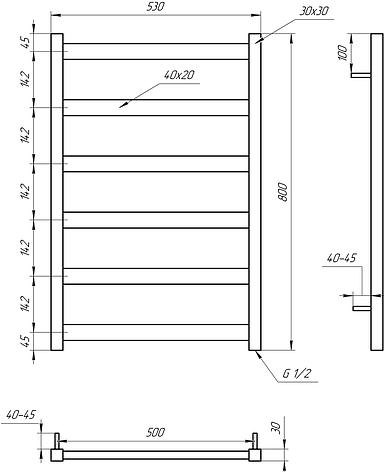 Полотенцесушитель Genesis-Aqua Maxi 80x53 см, фото 2