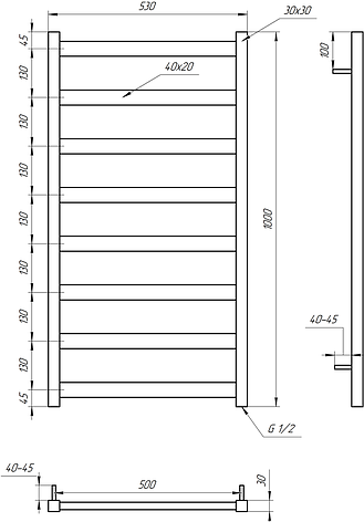 Полотенцесушитель Genesis-Aqua Maxi 100x53 см, фото 2
