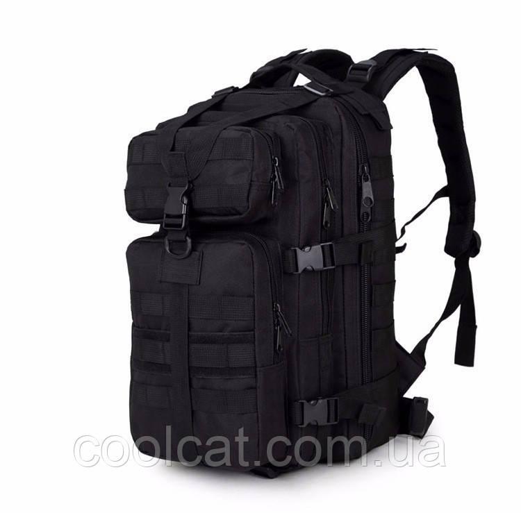 Армейский рюкзак 35 л + Подарок! Черный  - военный штурмовой (45х30х26 см)