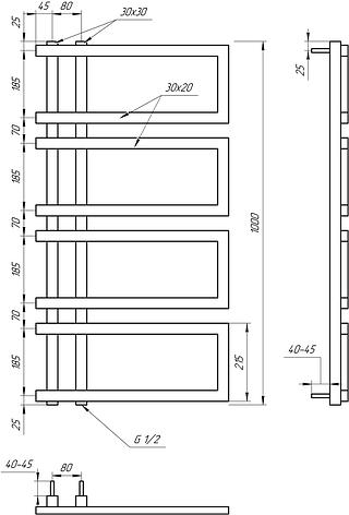 Полотенцесушитель Genesis-Aqua Enzo 100x53 см, фото 2