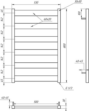 Електричний полотенцесушитель Genesis-Aqua Bull 80x53 см, фото 2