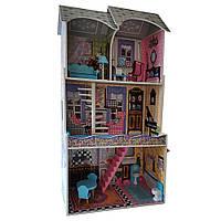 Кукольный деревянный домик с мебелью, 3 этажа, 119*65*30,5 см, MD 2412