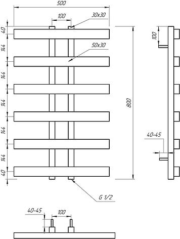 Електричний полотенцесушитель Genesis-Aqua Symmetry 80x53 см, фото 2