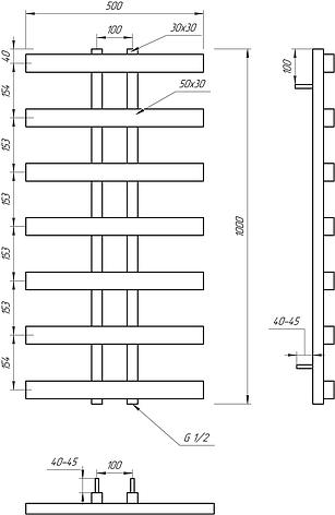 Електричний полотенцесушитель Genesis-Aqua Symmetry 100x53 см, фото 2
