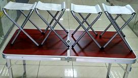 Стол Усиленный с квадратными ножками складной коричневый для пикника + 4 стула