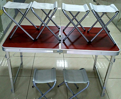 Стол Усиленный с квадратными ножками коричневый для пикника + 6 стульев, с отверстием для зонта