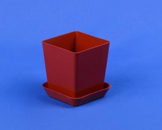 Пластиковый горшок для кактусов, с подставкой, 150 мл, Коричневый (Терракота)