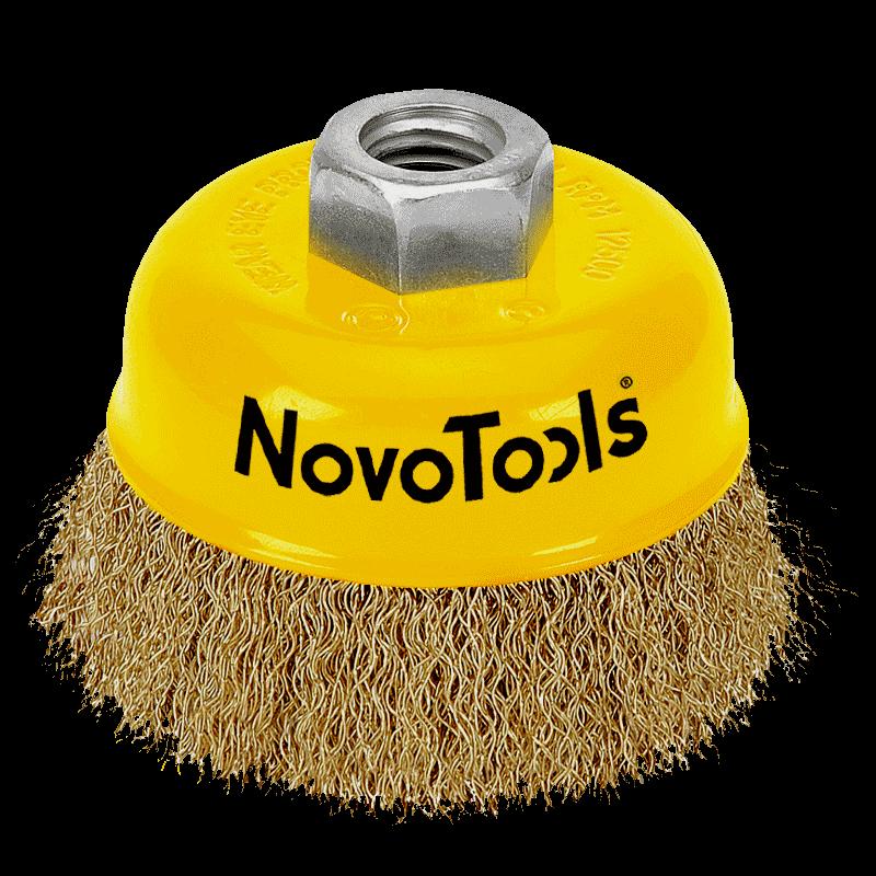 Щетка торцевая NovoTools, гофр. латунь, 65мм