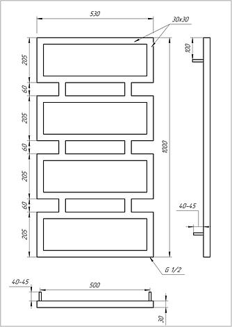 Электрический полотенцесушитель Genesis-Aqua Quattro 100x53 см, фото 2
