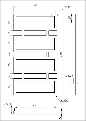 Електричний полотенцесушитель Genesis-Aqua Quattro 100x53 см, фото 2