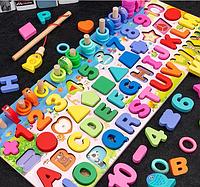 Деревянный алфавит развивающая обучающая игрушка геометрика пазл