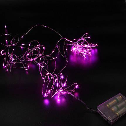 Xmas гирлянд 100 Led (Copper) на медной проволоке (Капля росы) P Розовая работает от батареек, фото 2