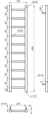 Електричний полотенцесушитель Genesis-Aqua Scala 120x25 см, білий, фото 2
