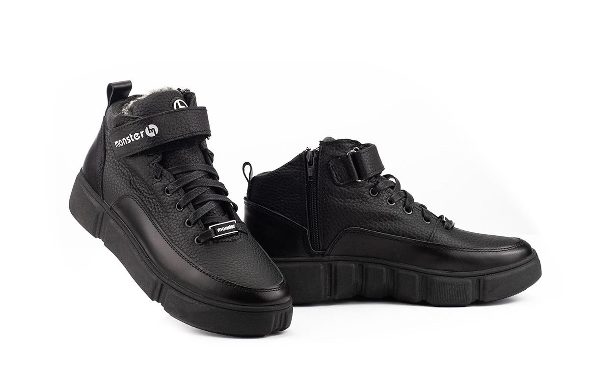Подростковые ботинки кожаные зимние черные